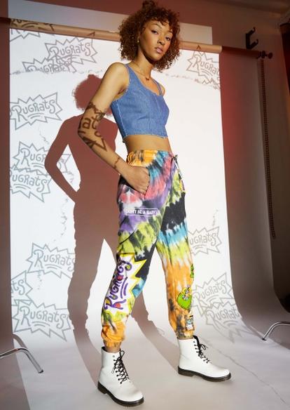 rainbow tie dye rugrats graphic joggers - Main Image