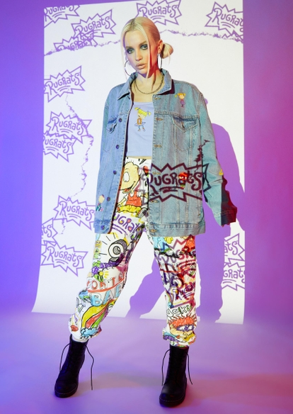 white allover rugrats doodle print graphic joggers - Main Image