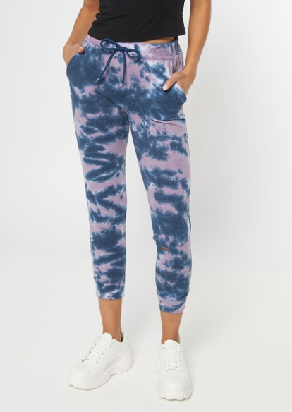 blue tie dye skinny joggers - Main Image