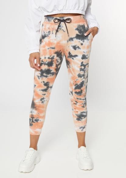 orange tie dye skinny joggers - Main Image