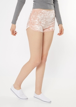 blush pink velvet dolphin shorts - Main Image