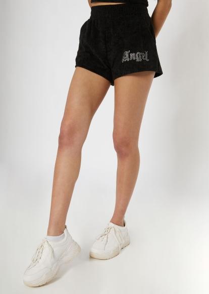 black rhinestone angel terry knit shorts - Main Image