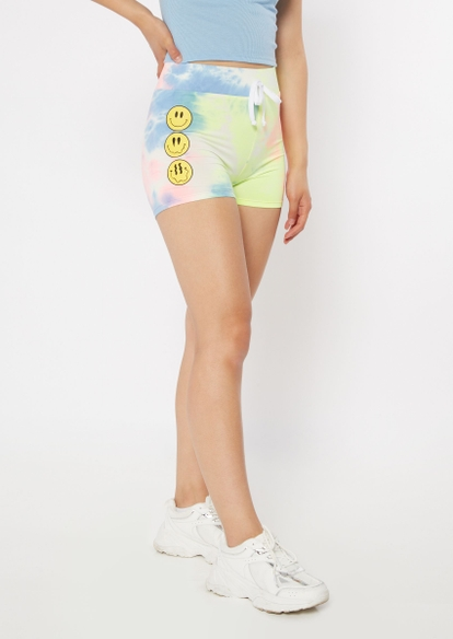 tie dye drippy smiley face graphic super soft shorts - Main Image