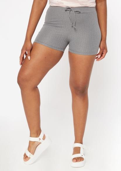 gray super soft ribbed knit drawstring shorts - Main Image
