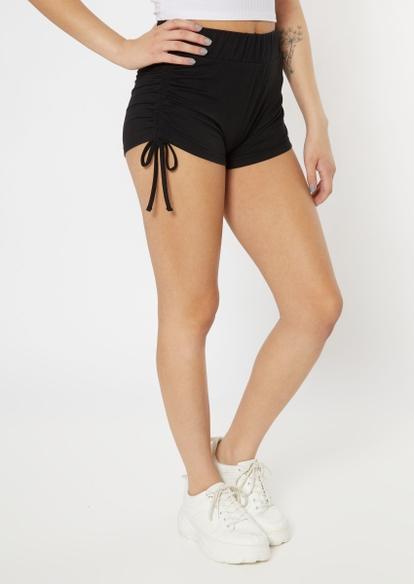 black ruched side soft shorts - Main Image