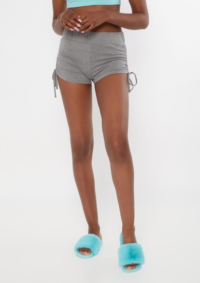 heather gray ruched side soft shorts - Main Image