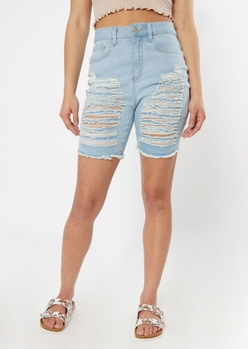 ultimate stretch light wash extra high waisted shredded bermuda shorts - Main Image