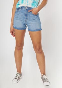 medium wash throwback mom shorts - Main Image