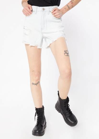 faded light blue super high rise ripped frayed jean shorts - Main Image