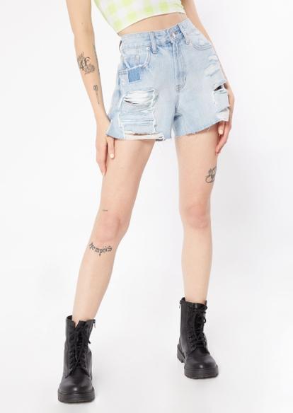 light wash high rise slit ripped rigid jean shorts - Main Image