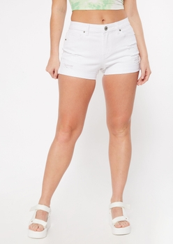 white high rise distressed jean shorts - Main Image