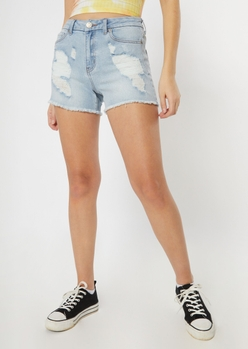 ultimate stretch light wash ripped curvy shorts - Main Image