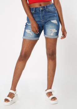 ultimate stretch medium wash curvy bermuda shorts - Main Image