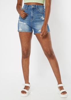 ultimate stretch medium wash high waisted curvy shorts - Main Image