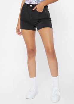 black high rise jean boy shorts - Main Image