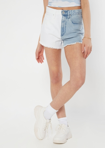 light two tone high waisted jean shorts - Main Image