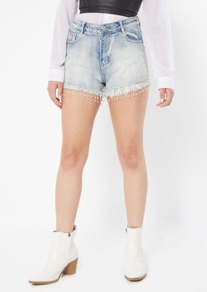light wash rhinestone tassel trim jean shorts - Main Image