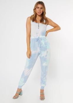 blue tie dye henley jumpsuit - Main Image