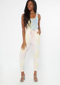 pastel tie dye henley jumpsuit - Main Image