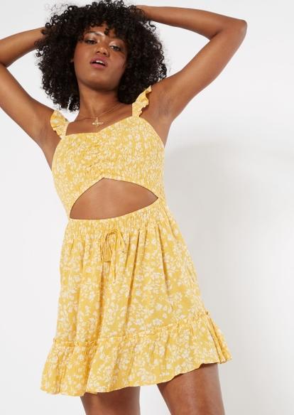yellow ditsy smocked cutout dress - Main Image