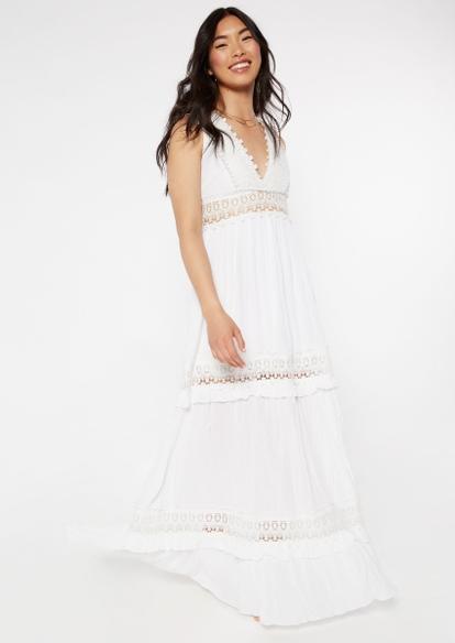 white crochet inset deep v neck maxi dress - Main Image