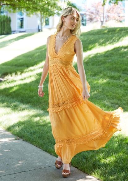 orange crochet inset deep v neck maxi dress - Main Image