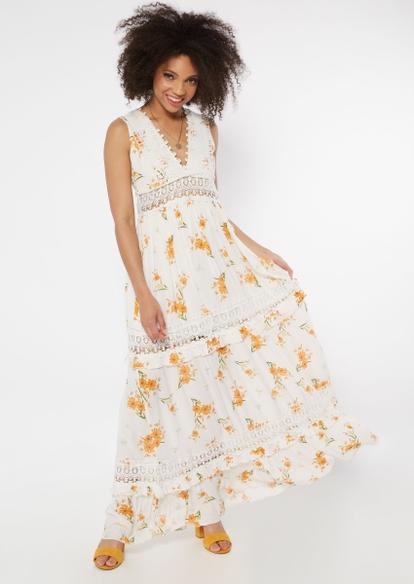 white sunflower print crochet inset deep v neck maxi dress - Main Image