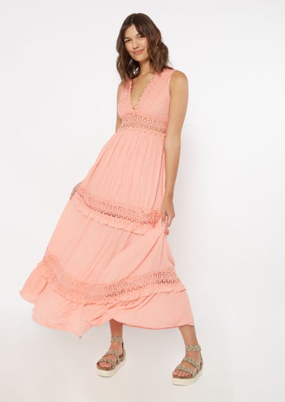 pink crochet inset deep v neck maxi dress - Main Image