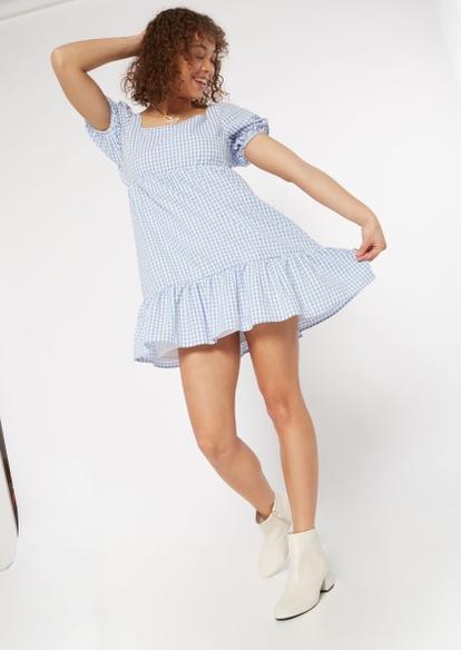 blue gingham open back babydoll dress - Main Image