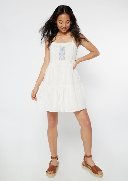 white embroidered babydoll tank dress - Main Image