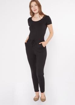 black drawstring waist cap sleeve jumpsuit - Main Image