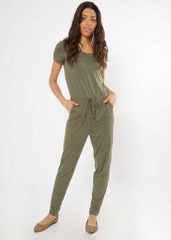 olive drawstring waist cap sleeve jumpsuit - Main Image