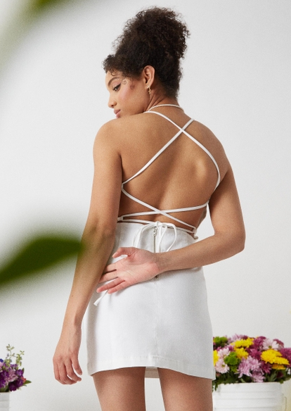 white lace up back fitted denim dress - Main Image