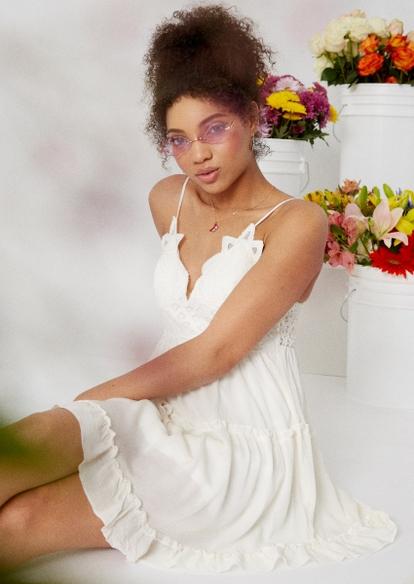 ivory crochet wire v neck ruffle mini dress - Main Image