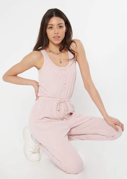 pink super soft henley jumpsuit - Main Image
