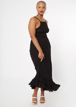 black smocked strappy back maxi dress - Main Image