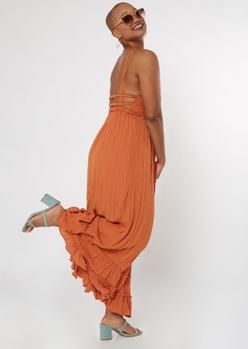 cognac smocked strappy back maxi dress - Main Image