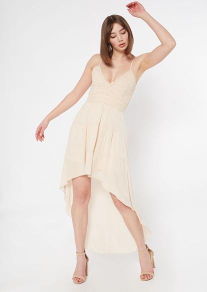 cream lace high low dress - Main Image