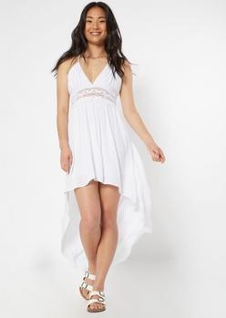 white crochet waist high low dress - Main Image