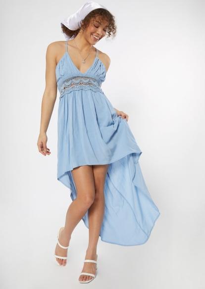 blue crochet waist high low dress - Main Image