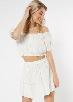 white crochet off the shoulder set - Main Image