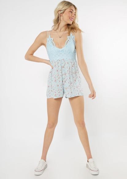 light blue floral print crochet top romper - Main Image