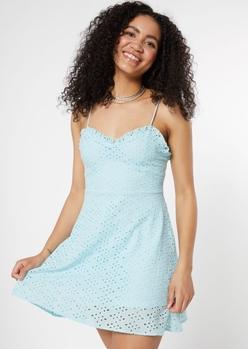light blue bungee strap eyelet dress - Main Image