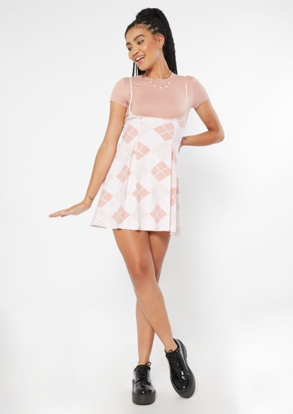2-piece pink argyle print pleated dress and tee - Main Image