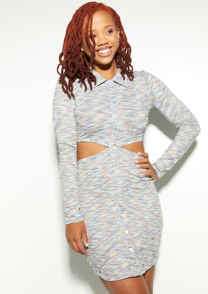 space dye cutout side button down polo dress - Main Image