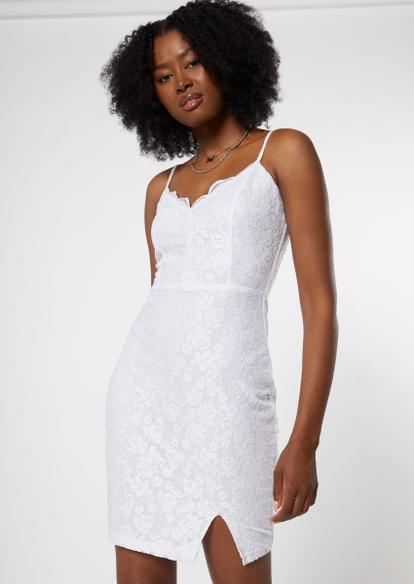 white lace bodycon slip dress - Main Image