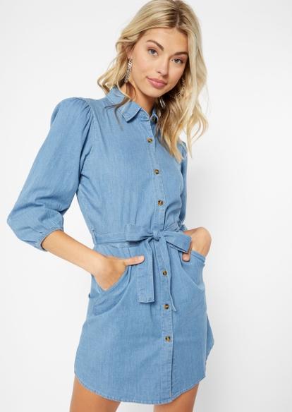 denim button front jean dress - Main Image