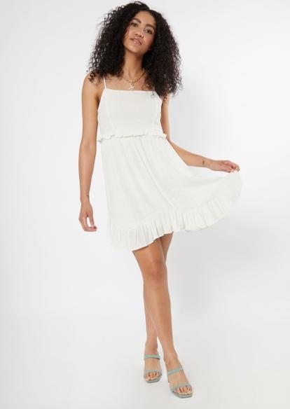 white ruffle trim dress - Main Image