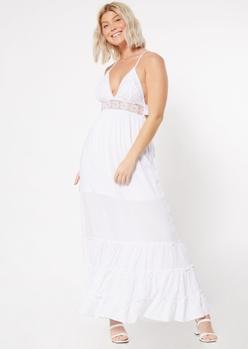 white crochet waist maxi dress - Main Image