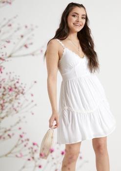 white crochet daisy trim mini dress - Main Image